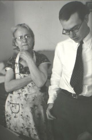 A rare vintage image of pop artist: Andy Warhol with his Mother taken in 1950 by American photographer and artist: Saul Leiter