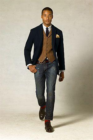navy sport coat brown tweed vest white shirt dark solid tie