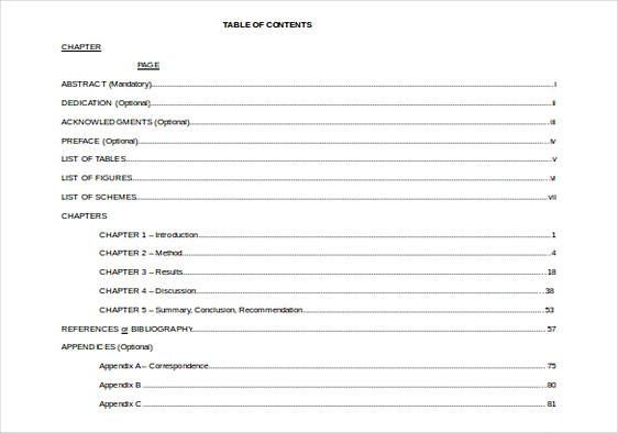 20 Table Of Contents Template Table Of Contents Template