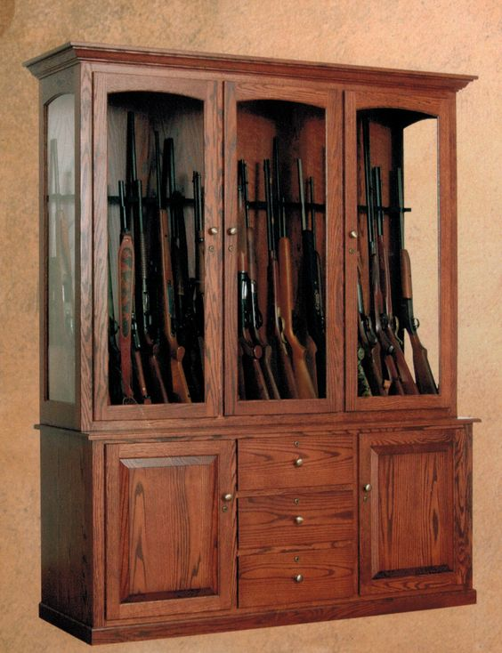 Huge 20 gun wall cabinet from USA Gun Cabinets. Shown in oak with ...