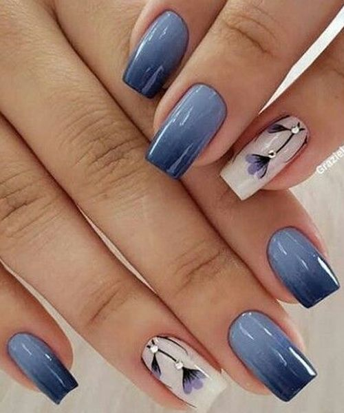 Exceptional Blue Ombre And Floral Nail Art Designs In 2020 Nail Art Designs Elegant Nail Designs Floral Nail Art