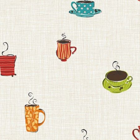 Coffee Time Wallpaper - Kitchens & Dining - Wallpaper - Wallpaper & Murals | RoomMates Peel and Stick Décor