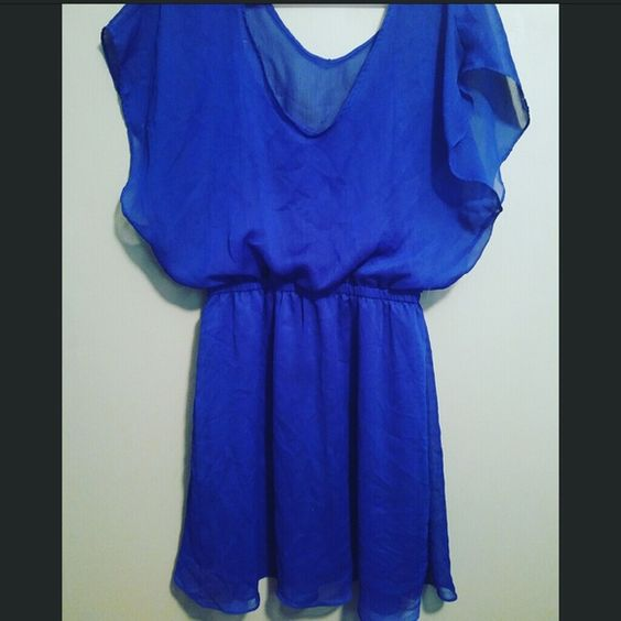 FINAL Express Flowy Dress Cobalt Blue Beautiful color!  Blue dress from Express.  Size Large.  Sheer fabric overlay with matching spaghetti-strap dress underneath to hide the goods. Express Dresses