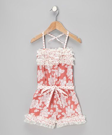 Take a look at this Coral Floral & Polka Dot Ruffle Romper - Toddler & Girls by Mia Belle Baby on #zulily today!