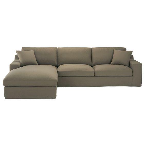 Canapé d'angle gauche 5 places en coton taupe