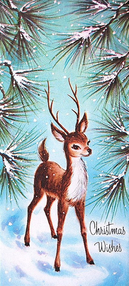 "Vintage Christmas Card Woodland Deer in the Pines 1950s. ""wow, I remember this exact card for some reason, I know I liked the pine branches."". ...dl:"