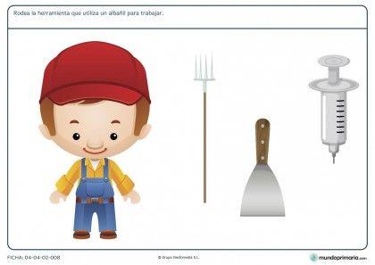 Ficha de herramientas del albañil para primaria