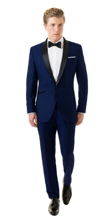 Royal Blue Shawl Tuxedo | Black Lapel