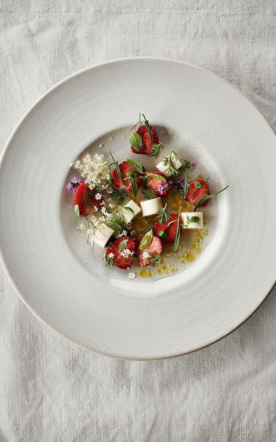 Dessert of strawberries and chamomile. Ingredients include hay cream ...