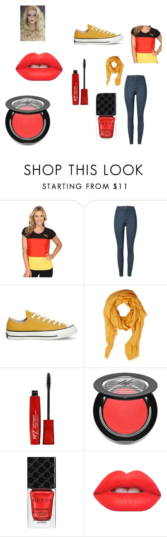 """""""GERMANY"""" by mangle322 ❤ liked on Polyvore featuring Puma, Converse, Violeta by Mango, Ardency Inn, Gucci and Lime Crime"""