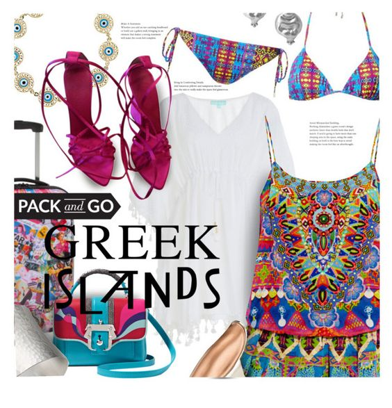 """Pack and Go: Greek Islands"" by stacey-lynne on Polyvore featuring Melissa Odabash, Paula Cademartori, Camilla, Matthew Williamson, IaM by Ileana Makri, Chen Fuchs Jewelry, Stephanie Kantis and Yves Saint Laurent"