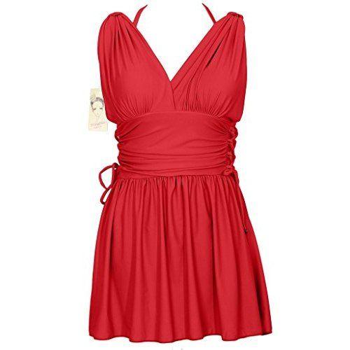 Figurformender Badeanzug Damen Einfarbiges Badekleid V Ausschnitt Badebekleidung mit Push Up und Bauchweg Effekt: