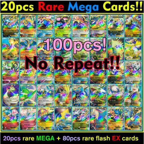 100 Piece/Lot Pokemon Trading Cards - No Repeats - Collector's Dream Find! EX - Rare Mega - No repeats