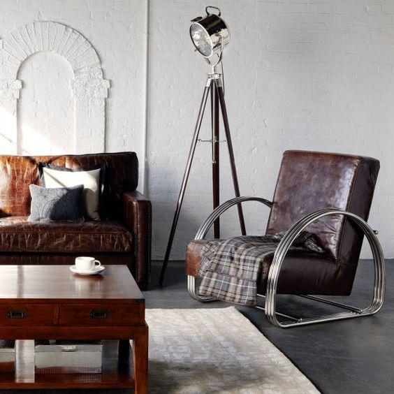 masculine interior decor, leather + wood + metal