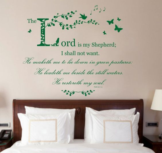 Hey, I found this really awesome Etsy listing at https://www.etsy.com/uk/listing/230666715/psalm-23-bible-quote-vinyl-wall-art