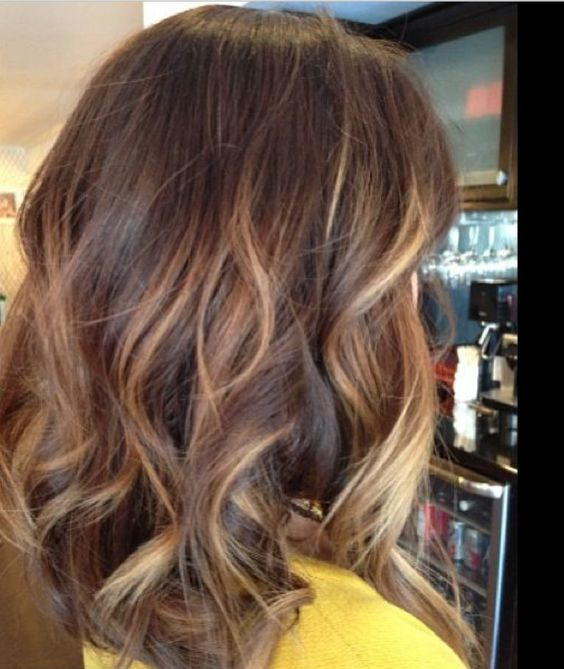 Medium length with caramel colored highlights