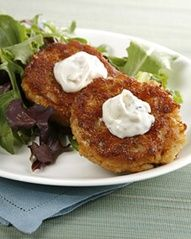 "recipe for crab cakes comes from actor Robert Duvall - his mother's recipe, I've heard.   ""savory"" works for him, too"