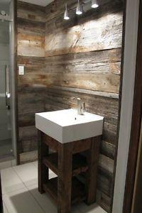 Du bois de grange dans la salle de bain a vous tente for Don de meuble montreal
