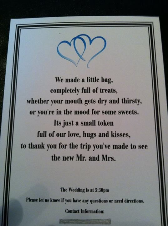 Wedding Gift Poem Pots And Pans : Wedding Hotel Guest Gift Bag Poem... definitely copying this lol its ...