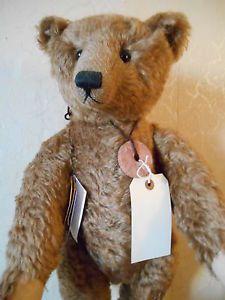 "Large Kathleen Wallace Steir Bear - 24"" dark brown mohair"