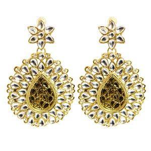 Mughal Kundan Big Teardrop Earrings || Available on ► www.vmfashion.com