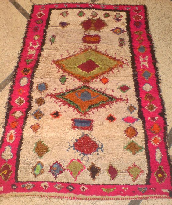 Vintage Moroccan Boucherouite Rug Berber Tribal Contemporary Modern Wall Art Painting Tapestry Tribal  3.10 x 6.3 FT