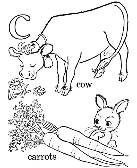 kids abc coloring pages letter c lc free printable farm