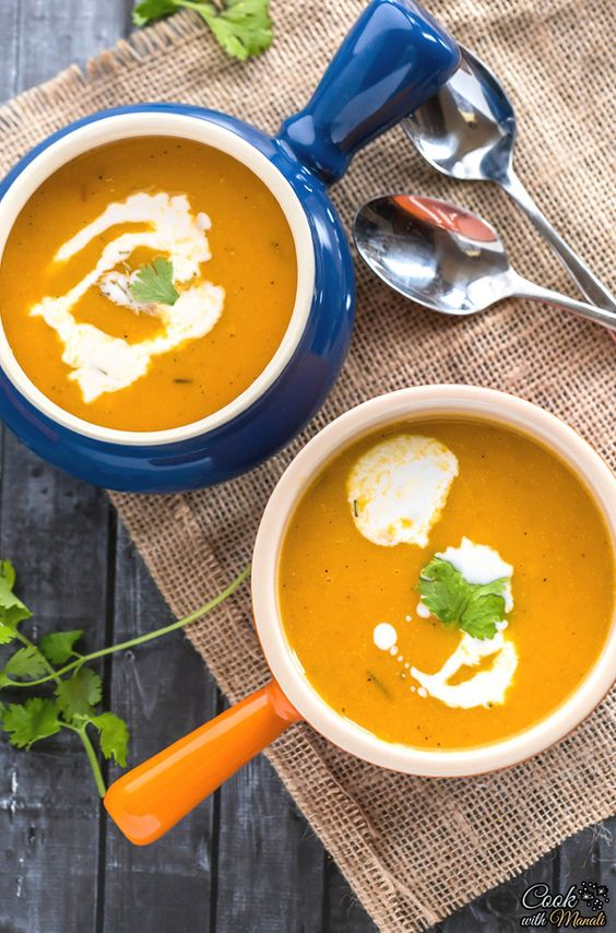 Vegan Butternut Squash Soup is warm, comforting and delicious. It will warm up holiday guests before the big meal on Thanksgiving! #vegan #thanksgiving #soup: