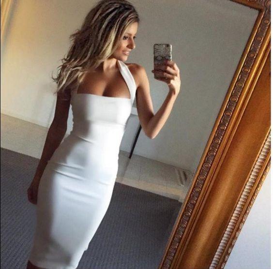 sleeveless hanging neck halter club dress new sexy summer dress white wommer dress vestido de festa bandage dress