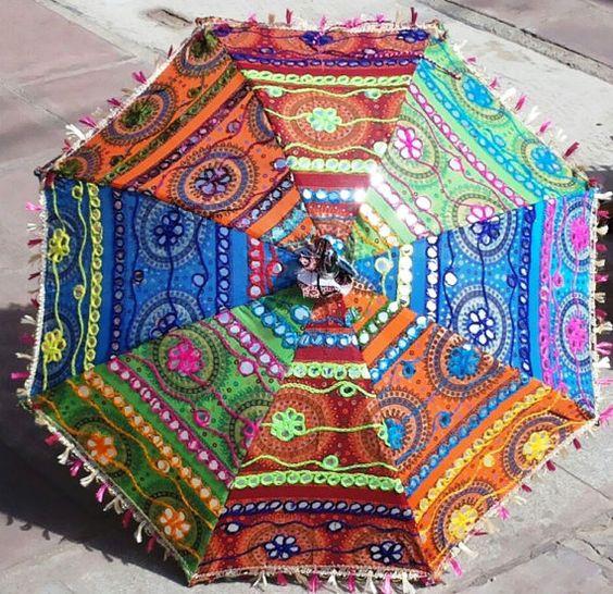 Handgemachte Baumwolle Stoff Regenschirm mit von Handmaderugstore
