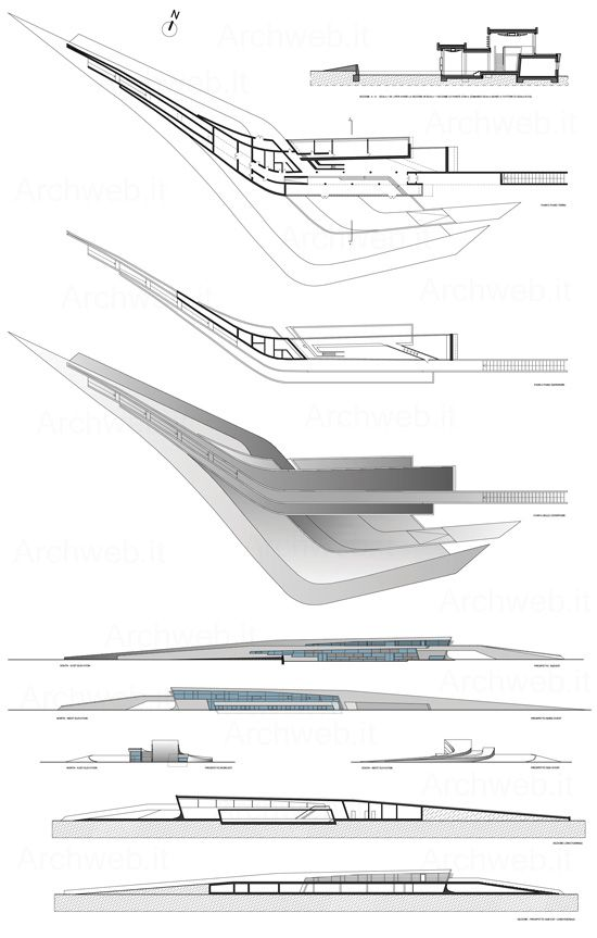 Drawing of Zaha Hadid's Library and Learning Center for the University of  Economics and Business in Vienna, Austria | Plan | Pinterest | Zaha hadid,  ...