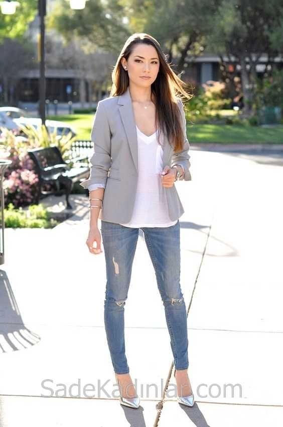 2020 Gunluk Kombinler Mavi Yirtik Kot Pantolon Beyaz Bluz Gri Ceket Kiyafet Spor Giyim Yirtik Kotlar