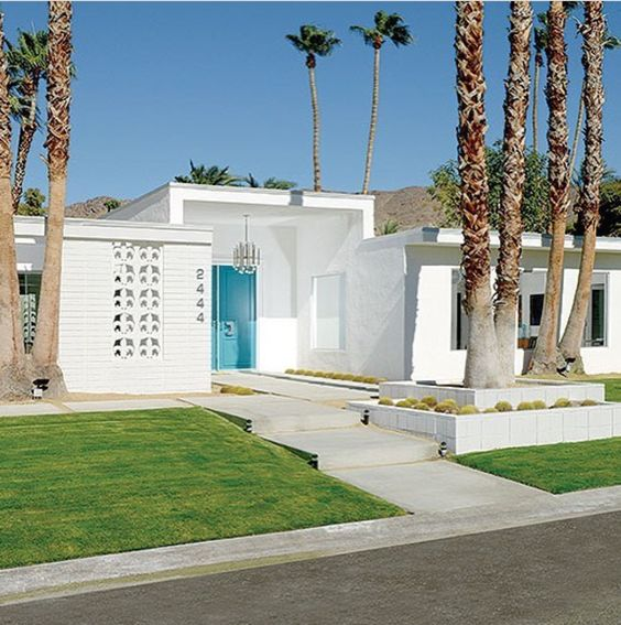 Palm Springs Clean Mid Century Modern Exterior With Aqua