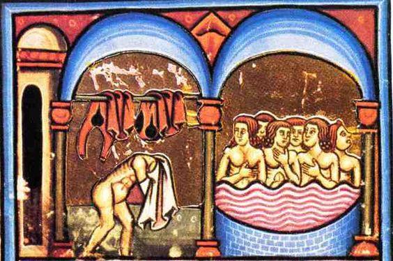 """Balneum Tripergulae – particolare da miniatura del Codice Angelico del """"De Balneis Puteolanis� di Pietro da Eboli."""