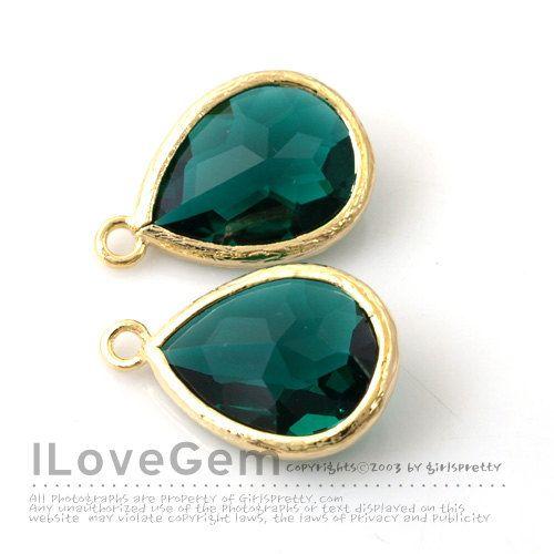 [JUPITER]  P2760 Gold plated Emerald Green Glass drop 12X17mm by ilovegem