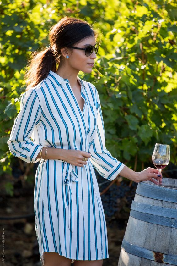 Blue and white striped shirtdress - Visit Stylishlyme.com for more outfit inspiration and style tips: