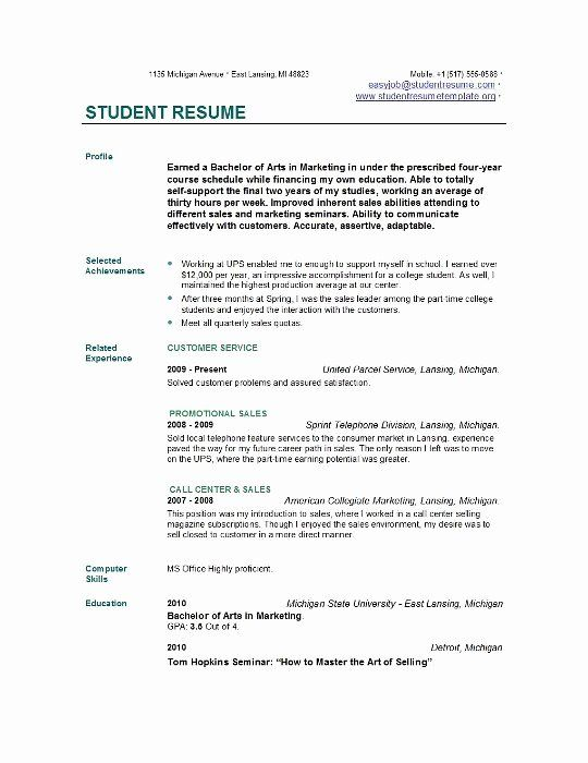 College Graduate Resume Template Unique Resume For College Undergraduate In 2020 Job Resume Examples College Resume Template Student Resume