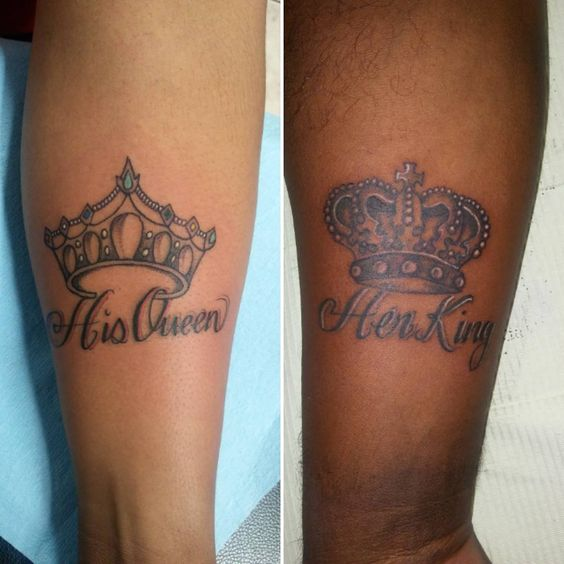 #crowntattoos at #triplethreattattoos #hisandhertattoos #kingandqueentattoos #marlonparker