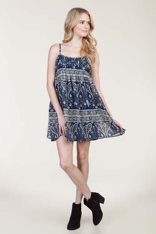 (amm) Paisley spaghetti straps flare blue dress