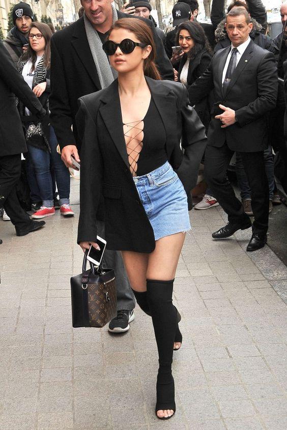 selena gomez blue mini skirt | Selena Gomez