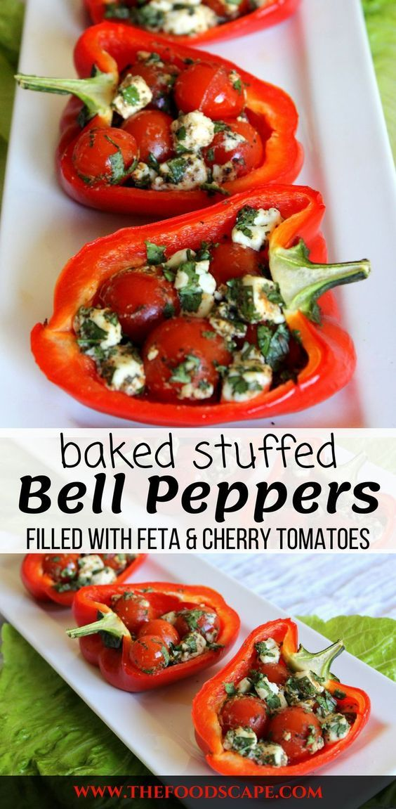 Baked Stuffed Bell Peppers Filled With Feta Cheese Parsley And Cherry Tomatoes The Perfect Summer Meal Stuffed Peppers Capsicum Recipes Stuffed Bell Peppers