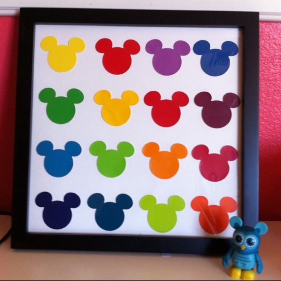 So easy! I used glue dots to mount these cut out Mickey paint samples you can get from Home Depot. Total cost including frame was twenty dollars. #Disney #Mickey #crafts #andywarhol #rainbow