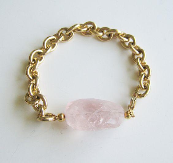 Cherry Quartz on Vintage Chain Bracelet.: Chain Bracelets, Jewellery Ideas, Baubles Bracelets, Vintage Bracelet, Jewelry Ideas, Awesome Idea, Ideas De