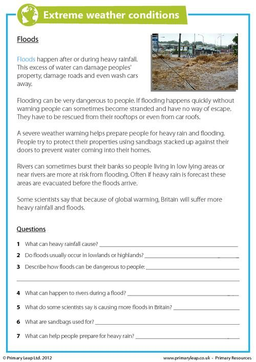 PrimaryLeap.co.uk - Extreme Weather Conditions - Floods Worksheet ...