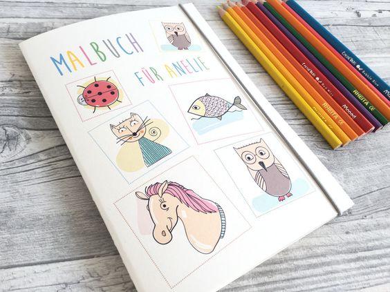 Malbücher - Malbuch personalisiert mit Namen - ein Designerstück von Kunstundtext bei DaWanda