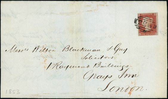 Cancellations: 1853 (July 16) cover to London, bearing 1841 1d. red-brown plate 153 SF with close to large margins, cancelled by ''226'' of Cranbrook (Parmenter rarity ''G''), on reverse has Cranbrook, Goudhurst and London datestamps.