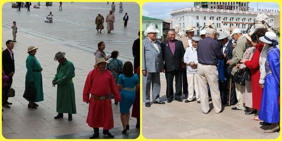 Mongólia  -  Cenas de um casamento com trajes típicos na Praça Sukhebaata