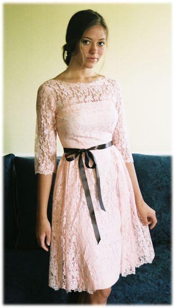 Lace vintage dress: Lace Vintage, Pink Lace, Vintage Lace Dresses, Bridesmaid Dresses, Dream Closet, Vintage Dresses, Wedding Dresses, Black Bows