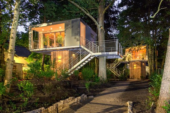 Urban treehouses in Berlin are equipped with a kitchen and bath for long-term living.