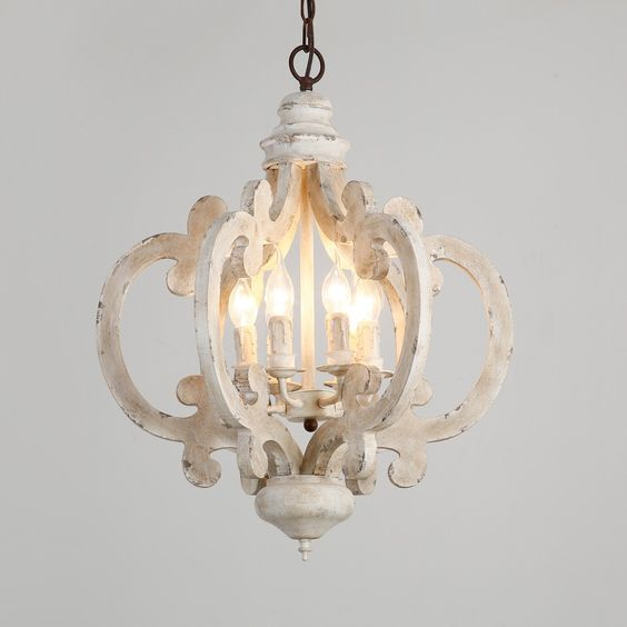 Vintage Elegant Weathered Wood & Iron 6-Light Candle-Style Chandelier in Distressed White - Chandeliers - Ceiling Lights - Lighting